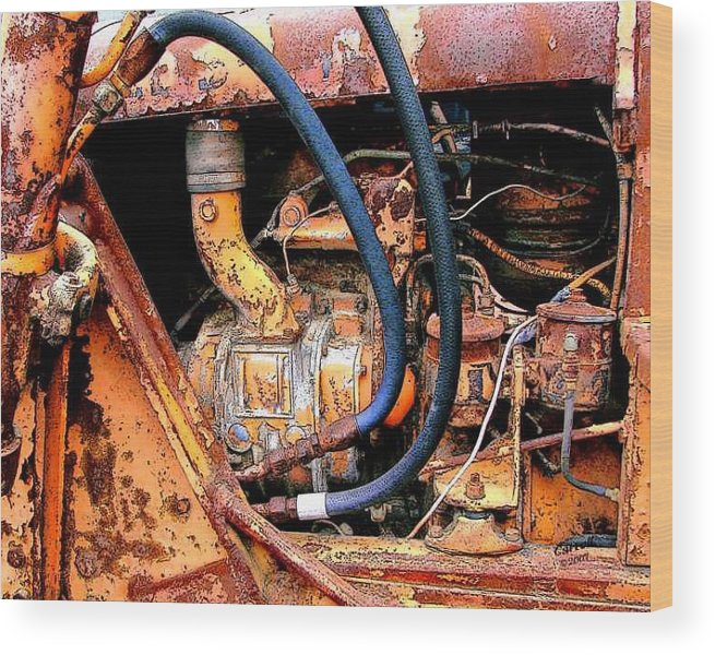 Photography Wood Print featuring the photograph The Old Tractor by Linda Carroll