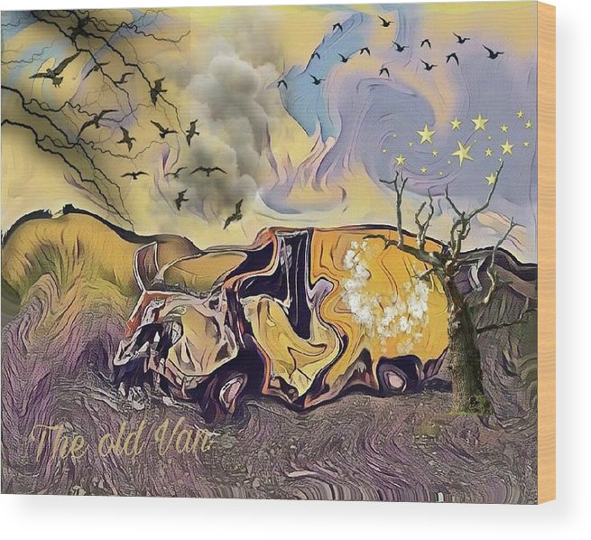 Yellow Car Wood Print featuring the mixed media The Old Van by Susanne Baumann
