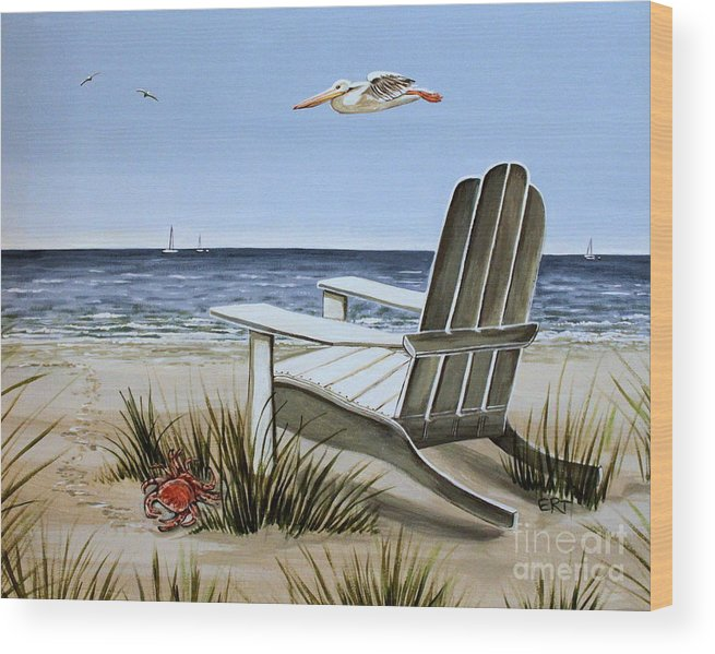 Landscape Wood Print featuring the painting The Pelican by Elizabeth Robinette Tyndall