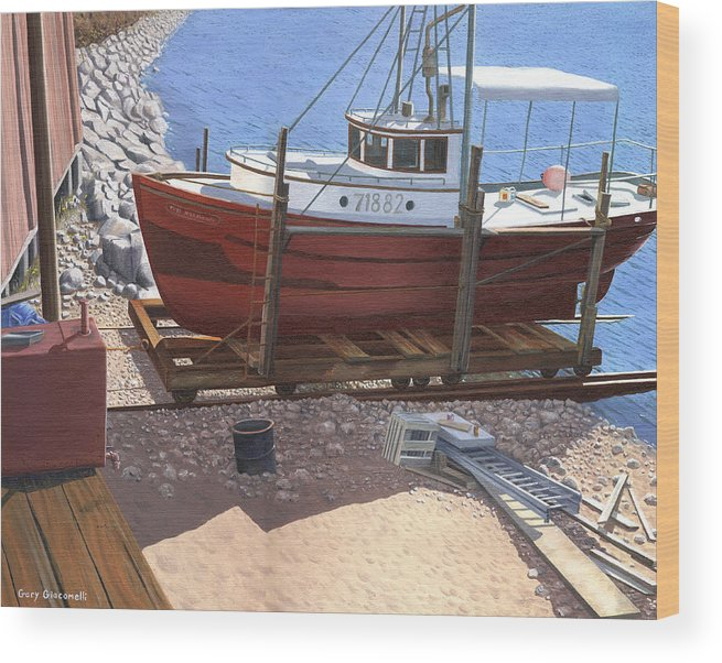 Fishing Boat Wood Print featuring the painting The Red Troller by Gary Giacomelli