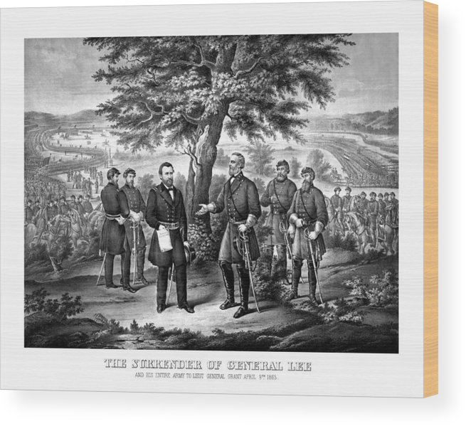 Civil War Wood Print featuring the mixed media The Surrender Of General Lee by War Is Hell Store