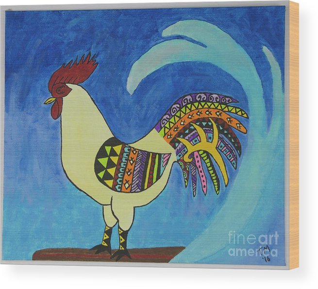 Rooster Wood Print featuring the painting The Wave by Tami Maldonado