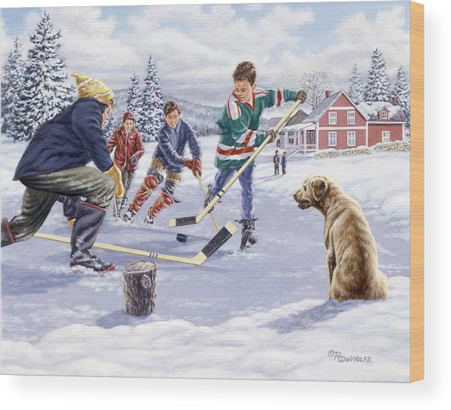Hockey Wood Print featuring the painting This Time For Sure by Richard De Wolfe