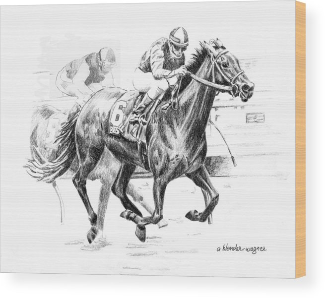 Thoroughbred Wood Print featuring the drawing Thoroughbred Best Pal by Arline Wagner