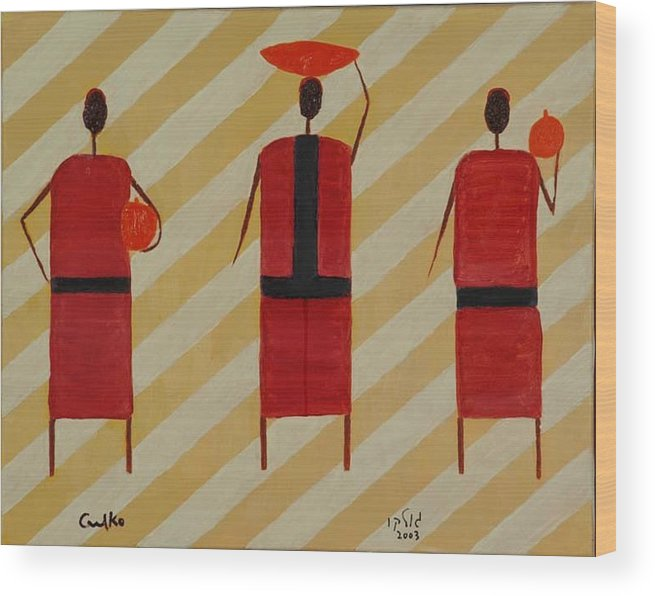 Figures Wood Print featuring the painting Three Carrier Ladies by Harris Gulko