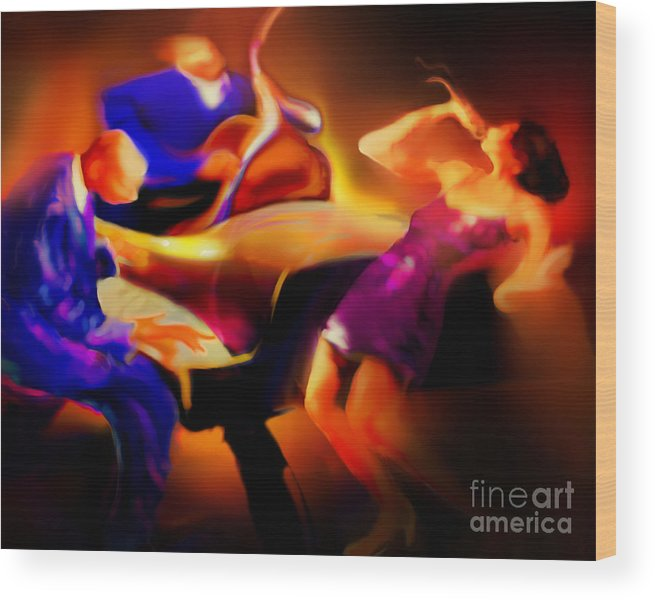 Jazz Art Wood Print featuring the painting Three by Mike Massengale