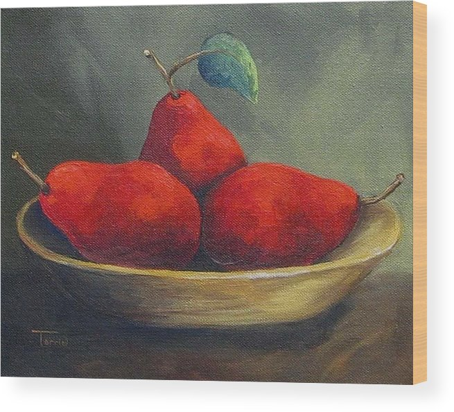 Pear Wood Print featuring the painting Three Red Pears by Torrie Smiley
