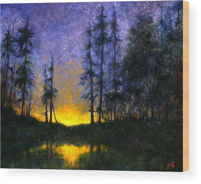 Landscape. Nocturn Wood Print featuring the painting Timberline by Jim Gola