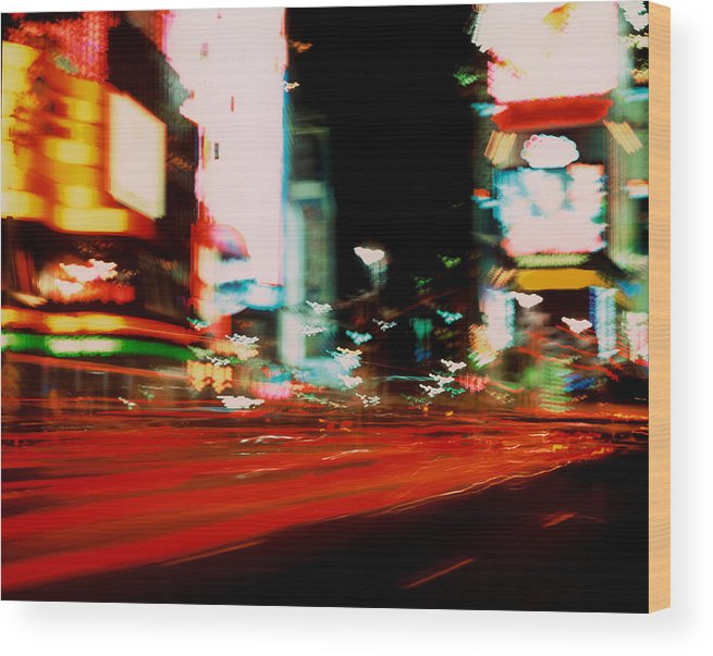Light Wood Print featuring the photograph Times Square Painted by Brad Rickerby