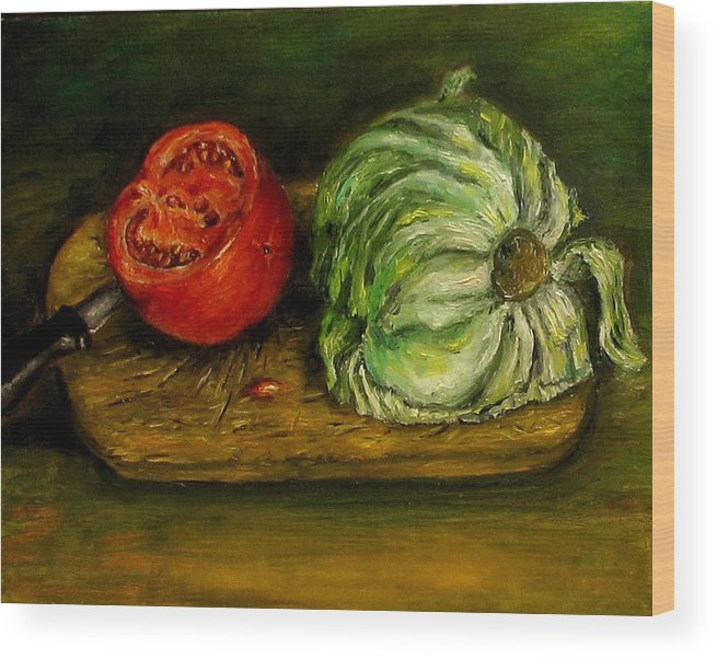 Tomatoes Wood Print featuring the painting Tomato And Cabbage Oil Painting Canvas by Natalja Picugina