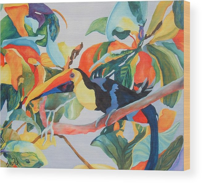 Bird Wood Print featuring the painting Toucan by SheRok Williams