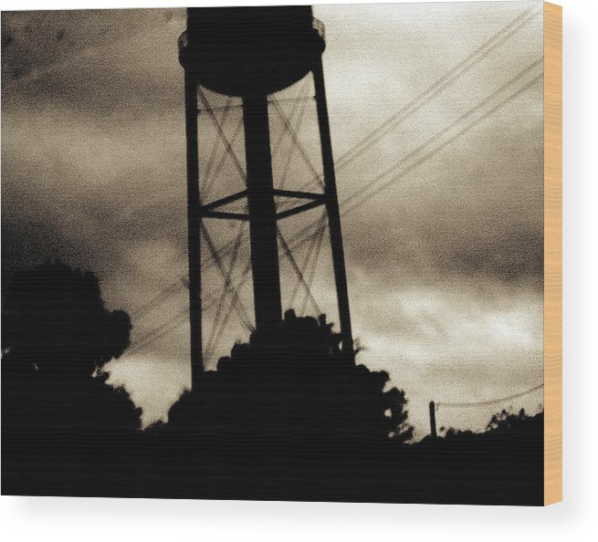 Water Tower Wood Print featuring the photograph Tower With Intersecting Lines II by Stephen Hawks
