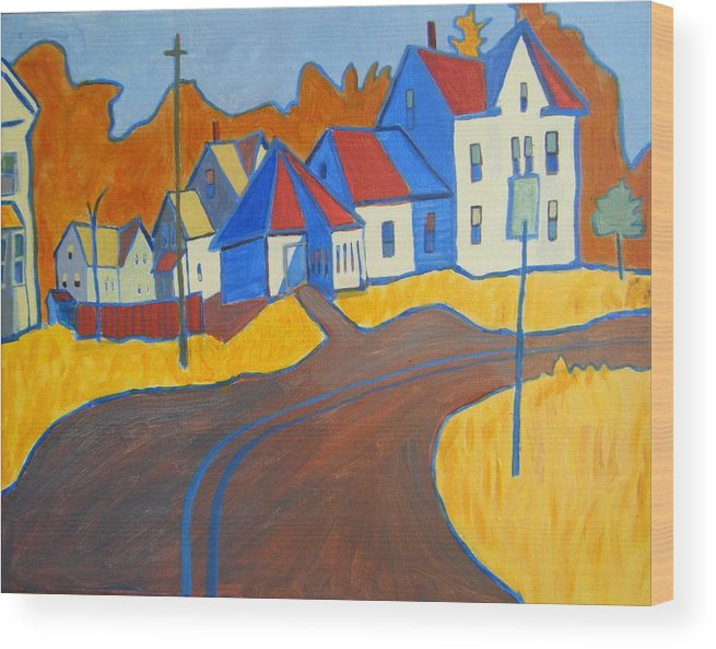 Buildings Wood Print featuring the painting Town Center Plaistow Nh by Debra Bretton Robinson