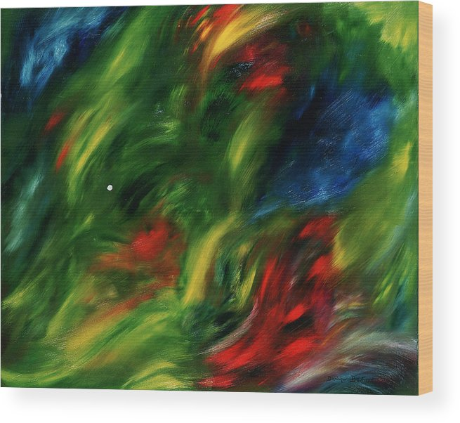 Abstract Wood Print featuring the painting Trepidation De La Vie by Dominique Boutaud