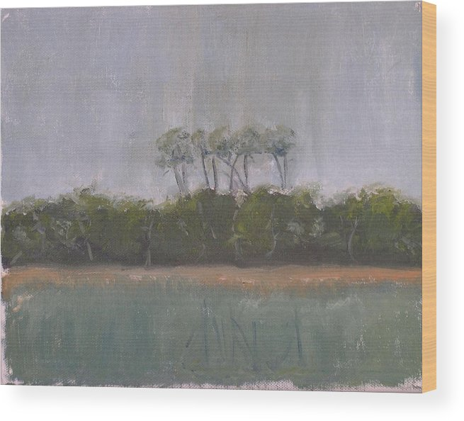 Landscape Beach Coast Tree Water Wood Print featuring the painting Tropical Storm by Patricia Caldwell