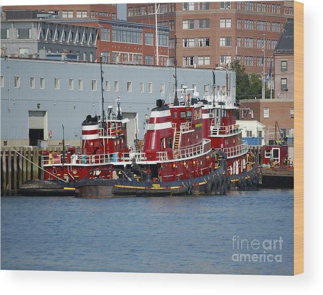 Tug Wood Print featuring the photograph Tugs At Rest by Faith Harron Boudreau