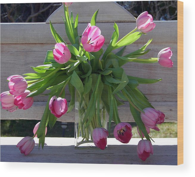 Flowers Wood Print featuring the photograph Tulip Bouquet by Heather S Huston