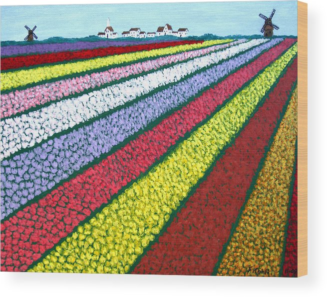 Landscape Paintings Wood Print featuring the painting Tulip Fields by Frederic Kohli