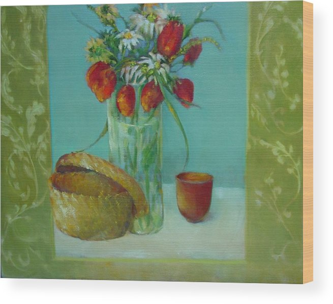 Contemporary Floral Painting Wood Print featuring the painting Tulips And Daisies        Copyrighted by Kathleen Hoekstra