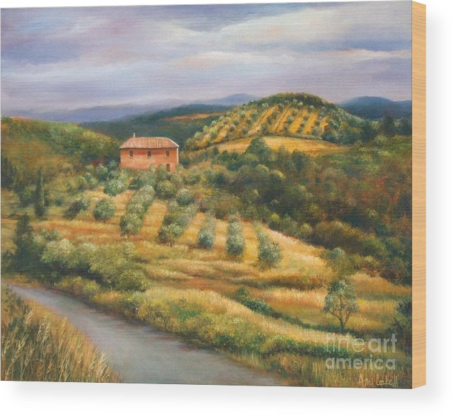 Landscape Wood Print featuring the painting Tuscan Summer by Ann Cockerill