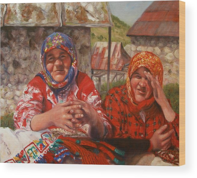 Realism Wood Print featuring the painting Twins by Donelli DiMaria
