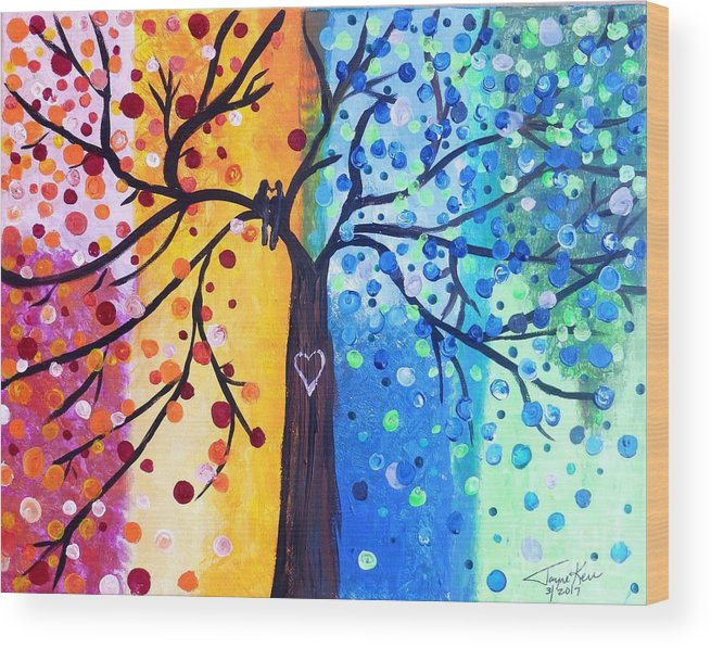 Tree Canvas Print Wood Print featuring the painting Two Moments by Jayne Kerr