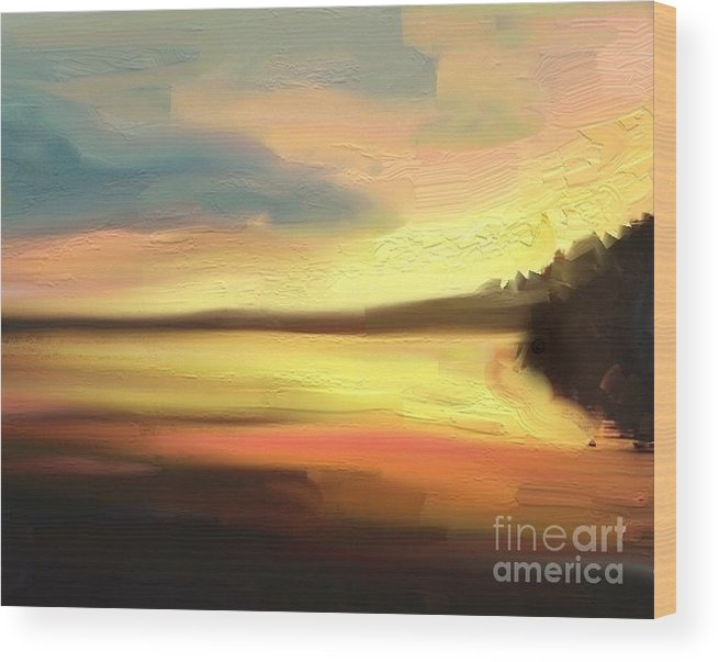 Sunset Wood Print featuring the painting Un Coucher De Soleil by Aline Halle-Gilbert