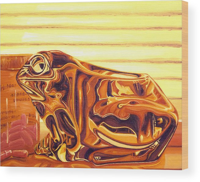 Frog Wood Print featuring the painting Untitled by Judy Henninger