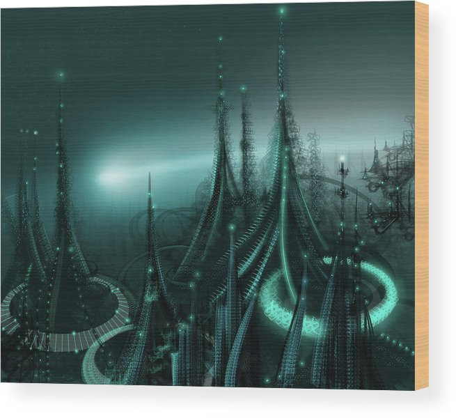 Cityscape Wood Print featuring the digital art Utopia by James Christopher Hill