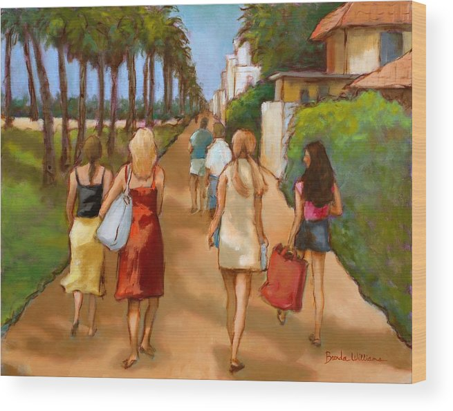 Girls Wood Print featuring the painting Venice Beach Promenade by Brenda Williams