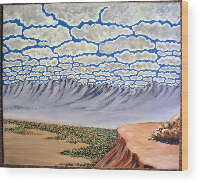 Desertscape Wood Print featuring the painting View From The Mesa by Marco Morales