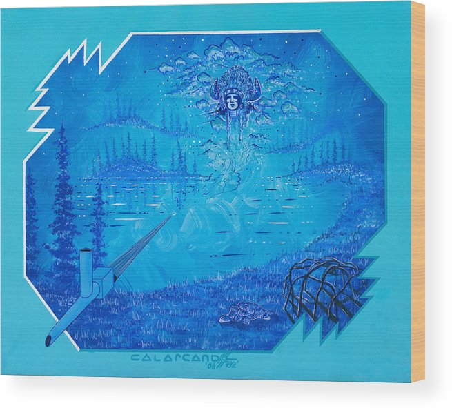 Vision Wood Print featuring the painting Vision by Cal Arcand