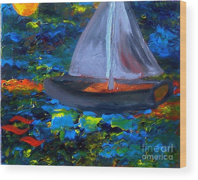 Serpent Wood Print featuring the painting Voyage With A Sea Serpent by Karen L Christophersen