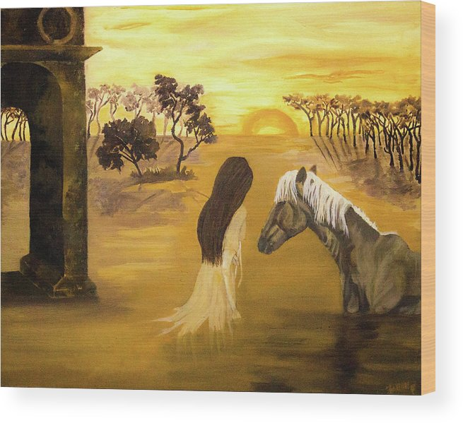 Horse Wood Print featuring the painting Warmth Of Contentment by Fallon Franzen