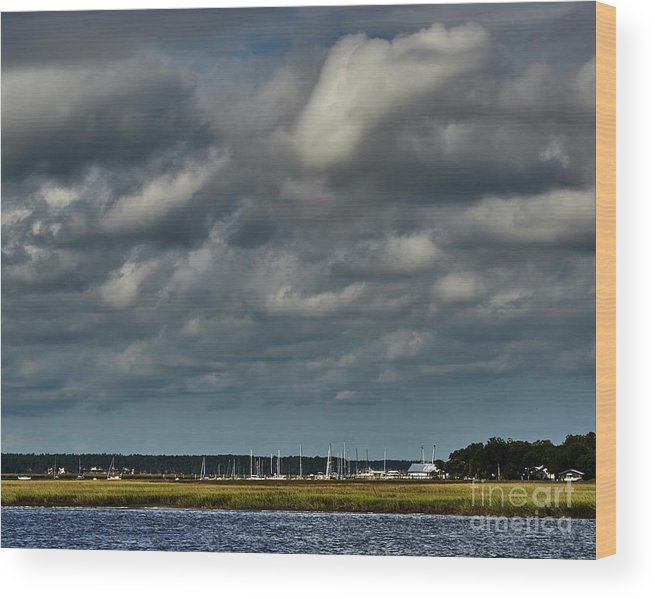 Clouds Wood Print featuring the photograph Water, Clouds And Sun. by Stanton Tubb