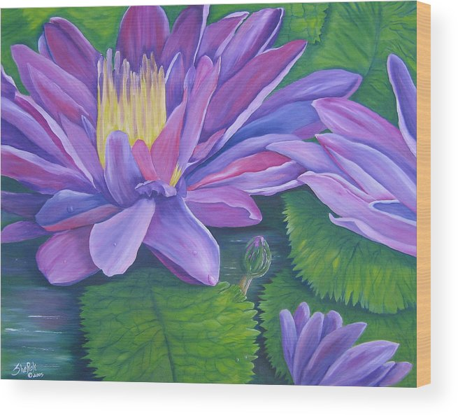 Floral Wood Print featuring the painting Waterlilies by SheRok Williams