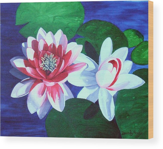 Water Lilies Wood Print featuring the painting Waterlily Dance by Brandy House