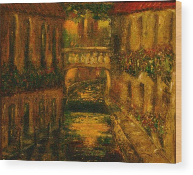 Landscape Wood Print featuring the painting Waters Of Europe by Stephen King