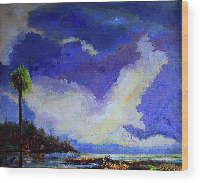 Art Wood Print featuring the painting Wetlands Sky by Julianne Felton