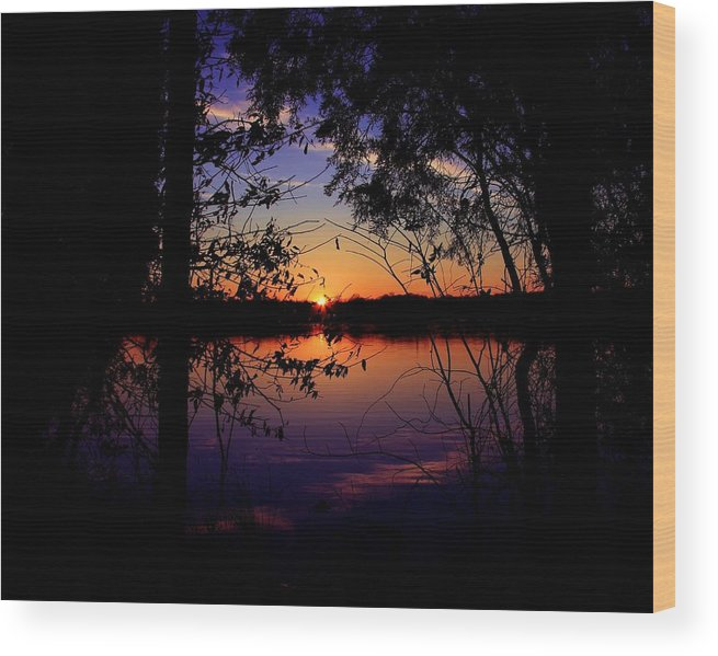 Nature Sunset Lake Darkness Shadows Sun Sky Reflection Wood Print featuring the photograph When Darkness Comes by Mitch Cat