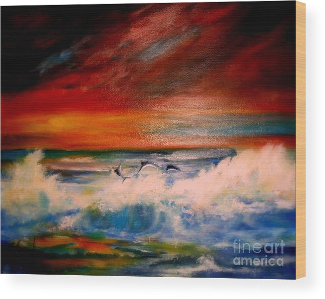 Sunset Wood Print featuring the painting Where Sailfish Play by Judith Allison