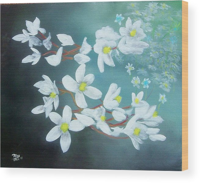 Flowers Wood Print featuring the painting White Flowers by Tony Rodriguez