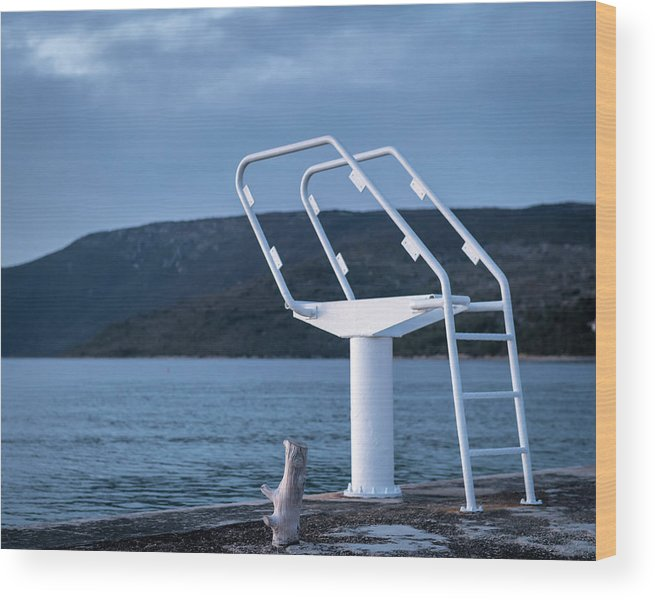 Island Wood Print featuring the photograph White Ladder Of A Diving Board At The Beach In Cres by Stefan Rotter