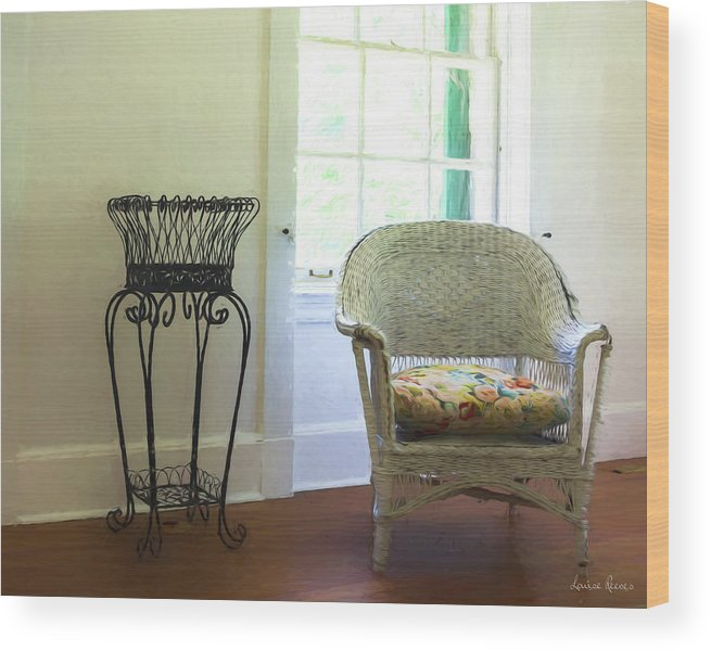 Wicker Wood Print featuring the photograph Wicker Chair And Planter by Louise Reeves
