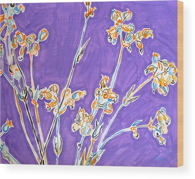Wild Wood Print featuring the painting Wild Flowers On Lilac by Vitali Komarov