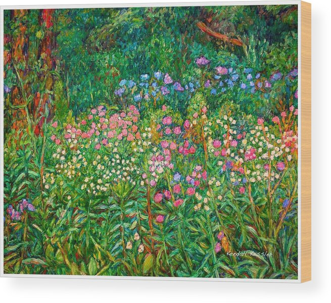 Floral Wood Print featuring the painting Wildflowers Near Fancy Gap by Kendall Kessler