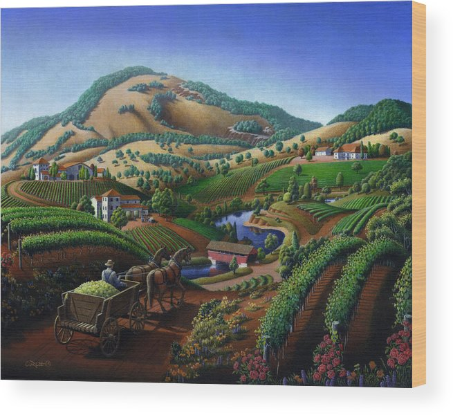 Old Wood Print featuring the painting Old Wine Country Landscape - Delivering Grapes To Winery - Vintage Americana by Walt Curlee