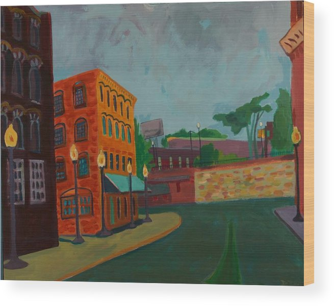 Cityscape Wood Print featuring the painting Wingate Street by Debra Bretton Robinson