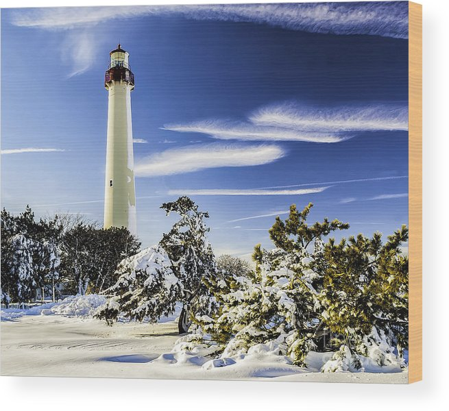 Beacon Wood Print featuring the photograph Winter At Cape May Light by Nick Zelinsky