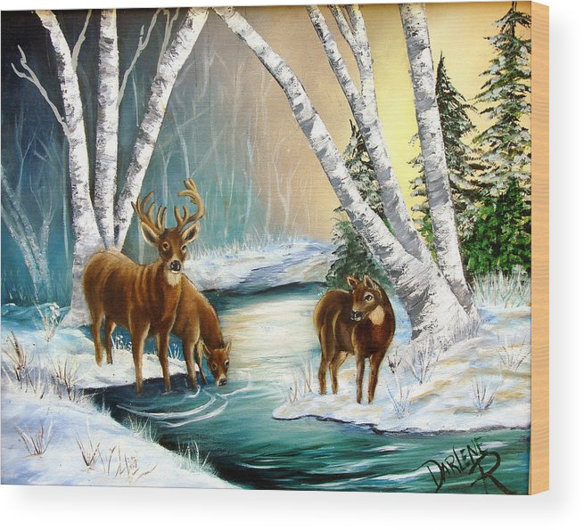 Winter Wood Print featuring the painting Winter Morning Walk by Darlene Green
